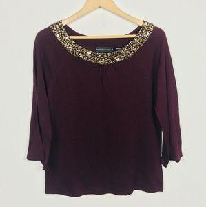 Dana Buchman Top Blouse 3/4 Sleeve Purple Sz: M